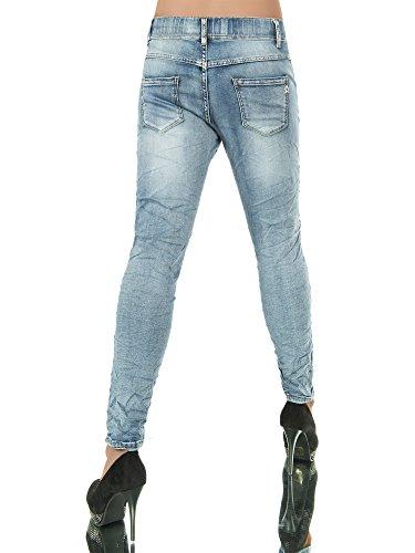L988 Damen Jeans Hose Hüfthose Damenjeans Chinojeans Boyfriend Röhrenjeans Baggy Blau