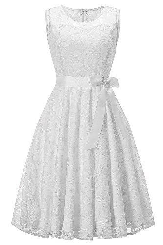 MisShow Damen Spitzen Rockabilly Kleid Festlich Partykleid Cocktailkleid Brautjungfern Kleid...
