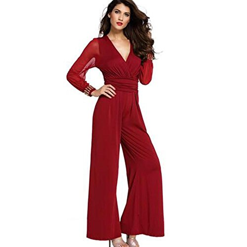 NAOMIIII Frauen Mesh Long Sleeve V-Ausschnitt Wide Leg Hose Overall , Red , L (Wide Leg Jean Rise High)