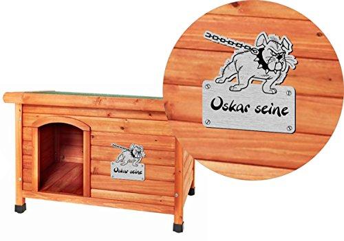 Namensschild mit Wunschtext und Motiv, Gravur für Hundehütte, Hundehaus - 2