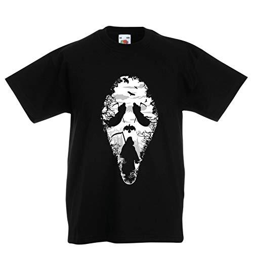 lepni.me Kinder Jungen/Mädchen T-Shirt Tribal Sensenmann Schrei - Tod gruselig beängstigend (3-4 Years Schwarz Mehrfarben)