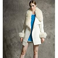 GS~LY Cappotto Da donna Per uscire Inverno Romantico,Tinta unita / Collage Colletto Lana Bianco Manica lunga Spesso , white , s