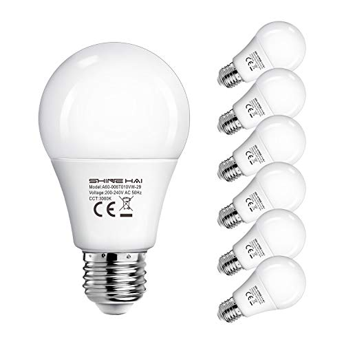SHINE HAI LED E27 Bulbs 40W Equivalent, ES Bulbs, A60 6W, 3000K Warm White Frosted LED E27 Globe Edison Screw Bulb, Ultra Bright 470Lm, Non-Dimmable, LED Light Bulb, Energy Saving Light Bulb, 6-Pack