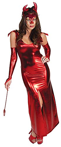 SADWF Halloween Cosplay Nachtclub DS Rot Lackleder Horn Teufel-Set Langer Rock Catsuit, XL