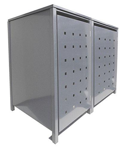 *BBT@ | Solide Mülltonnenbox für 2 Tonnen je 240 Liter mit Klappdeckel in Silber (RAL 9006) / Stanzung 1 / Aus robustem pulver-beschichtetem Metallblech / Versch. Farben + Blech-Stanzungen erhältlich / Mülltonnen-Verkleidung Müll-Boxen Müll-Container*