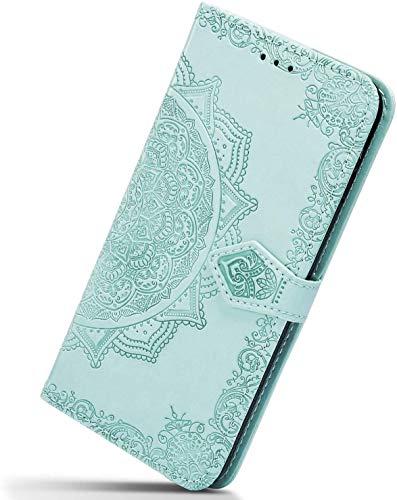 Herbests Kompatibel mit Samsung Galaxy J6 2018 Hülle Klapphülle Leder Tasche 3D Vintage Mandala Blume Muster Flip Schutzhülle Wallet Handyhülle Case Klappbar Magnetisch Etui mit Kartenfach,Grün