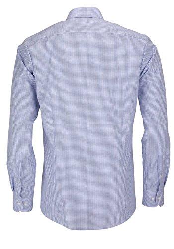 MARVELIS Body Fit Hemd Langarm mit New Kent Kragen Karo hellblau Blau