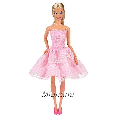 Miunana-15-Artculos-5x-Vestidos-de-Corto-5-pares-Zapatos-y-5-Perchas-Vestir-Ropa-Casual-Accesorios-como-Regalo-para-Barbie-Mueca-Doll