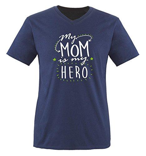 Comedy Shirts - My MOM is My Hero - Herren V-Neck T-Shirt - Navy/Weiss-Grün Gr. XL -