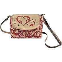 d8a67775f6b06 Domelo Damen kleine rot beige Tasche Umhängetasche eckig Mädchen Crossbody Dirndltasche  Trachtentasche Canvastasche Frauentasche Handtasche Oktoberfest
