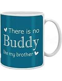Indigifts Rakshabandhan Gifts for Brother No Buddy Like You Bro Quote Blue Coffee Mug 330 ml - Special Rakhi Gifts for Brother, Brother Gifts for Birthday, Raksha Bandhan Gifts, Brother Coffee Mugs