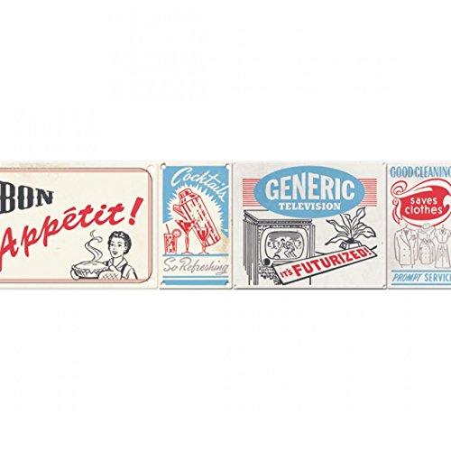 CASELIO Vintage-selbstklebende Bordüre-Wandtattoo
