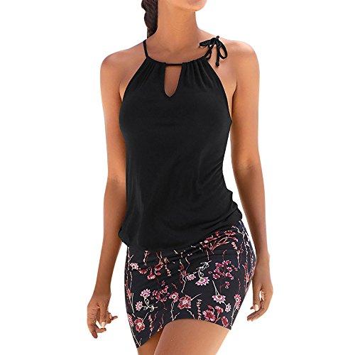 BURFLY kleid elegant sommer, Art- und Weisefrauen beiläufiges ärmelloses Retro Druck-Strand-Minikleid-Strand-Kleid (M, ()