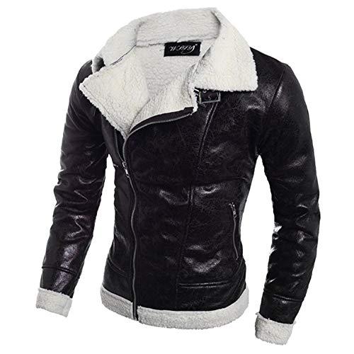 fc1dca9c1c Mantel Herren Herbst Winter Warm Pelz Liner Revers Lederjacke  Reißverschluss Jacke Outwear Warm.
