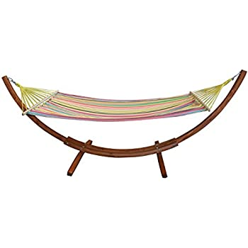 Amazing Free Standing Multi Coloured Canvas Garden Hammock With Wooden Arc Stand