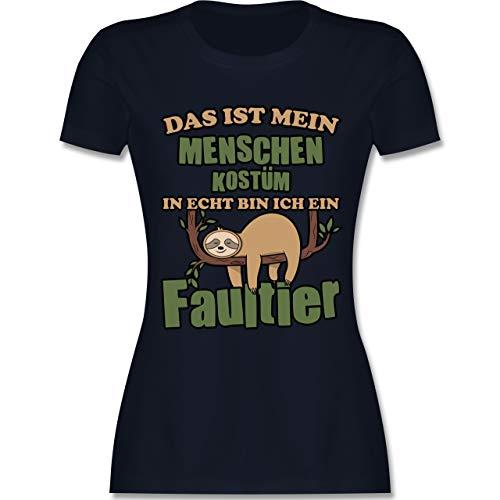 Frauen Kostüm Faultier - Karneval & Fasching - Das ist Mein Menschen Kostüm in echt Bin ich EIN Faultier schlafend - M - Navy Blau - L191 - Damen Tshirt und Frauen T-Shirt