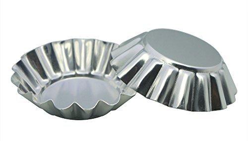 MYSTAR 8cm (8cm) aus Design Runde Form Antihaft-Aluminium Tart Form, Mini Pie Zinn, Törtchen Pfanne, Set von 20 Fluted Mini Mold