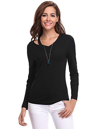 Abollria Donna Maglia Primavera con Manica Lunga Donna Maglietta Casual con Cut Out sullo Scollo T-Shirt V-Scollo Nero