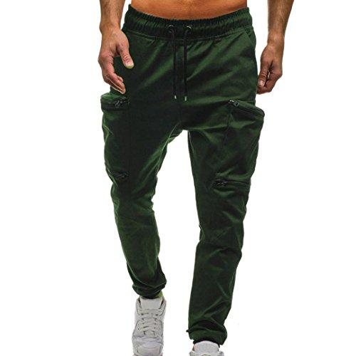 TEBAISE Jogger Cargo Herren Chino Hose Sommer Herbst Stretch Freitzeithose Hosen(Armee grün,3XL)