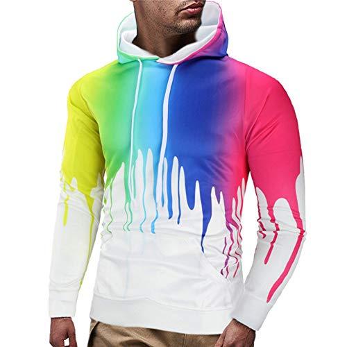Kobay Uomo Autunno Casuale 3D Stampato Manica Lunga Pullover Felpa con  Cappuccio Top Coat(Multicolore 4be66535ab16