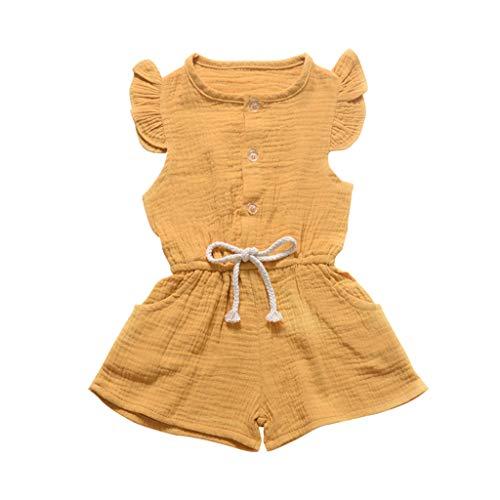 Riou Jumpsuit Baby Mädchen Sommer ärmellose Feste Blumen Overall Hosen Spielanzug Kleidung Romper Overall Body Babykleidung Set