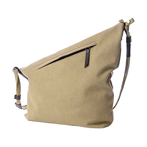VRIKOO Retro Canvas Crossbody Hobo Bag Unisex Vintage Satchel Messenger Shoulder Bags for Working Shopping School (Rose Red) Cachi