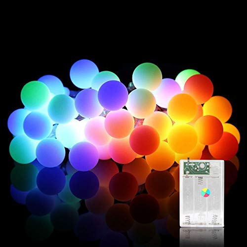 Sooair 80er LED Kugel Lichterkette 10M, LED Lichterkette Batteriebetrieben, Lichterkette Bunt ideal für Weihnachtsdeko, Innen, Zimmer, Hochzeit, Party usw (Brunt)