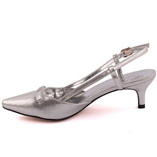 Unze Femmes Jackey Tiny Bow Pointed-Orteil Mi-Bas Talon Party Prom Get Together Carnaval Office Evening Sandales Talons Court Chaussures Grande-Bretagne Taille 3-8 Argent
