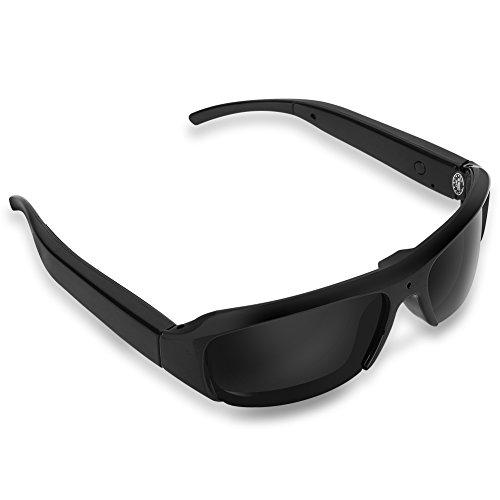 Características:   Las gafas están hechas de material ABS de calidad, resistente y duradero.La cámara invisible en el centro del cristal promete una visión amplia de la grabación de video de alta definición y la toma de imágenes.La ranura de la tar...