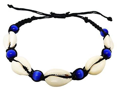 Bdj Bleu cobalt tissé main Perles Cowrie Coque Cordon de cire Bracelet de cheville 8.5–27,9cm