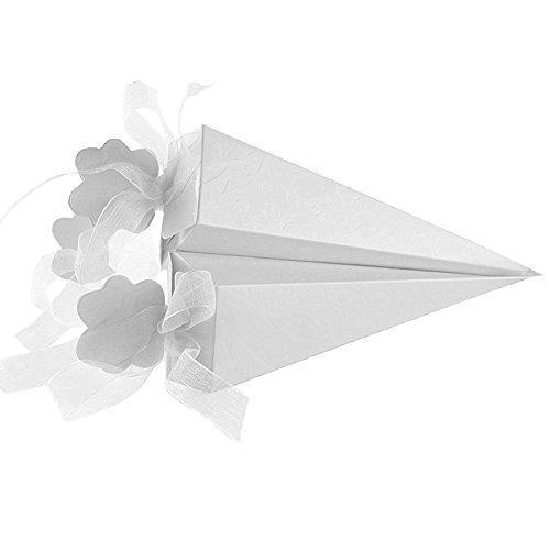 Sumshy 100 PZ Bianco Coni Portaconfetti Confettata per Matrimonio Cono Portariso, Scatola Scatolina Bomboniere Segnaposto per Baby Shower, Compleann, Battesimo, Comunione, Nascita, Laurea, Natale
