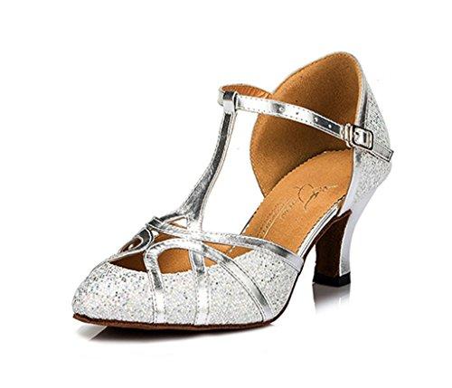 Sapatos Mulheres Das Ballrom Meijili Alta Dança Prata Salsa De Salto Tango Latina Moderno Sw4Axg