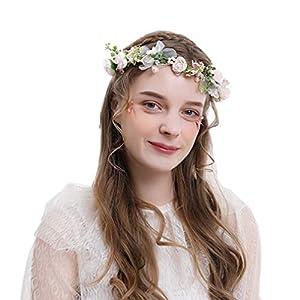 Ever Fairy Baby Blume Mädchen Perle Blumenkrone Damen Haarband Blumenkranz Haare für Frauen Hochzeit Party