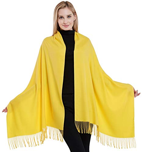 Pañuelo de algodón amarillo estilo pashmina