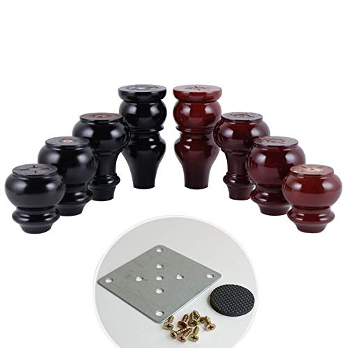 AZXC 4 × Massivholz MöBel Fuß Sofa Beine, DIY Holz Couchtisch Ersatz FußBett Beine Badezimmerschrank FußBett FüßE (Schraube + Festes StüCk + Bodenpolster, 80-150mm) -