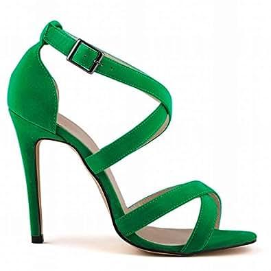 L@YC Frauen High Heels Flanell Sommer Und Herbst Fine Mit Open-Toed Multi-Colored Ball Sandalen , green , 35