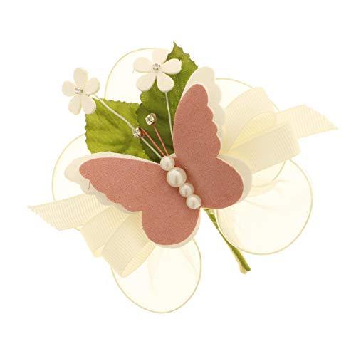 6 pezzi soave farfalla borgona fiore articiale con 5 racchette portaconfetti