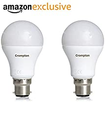 Crompton B22 18-Watt LED Bulb (Pack of 2, Cool Day Light)