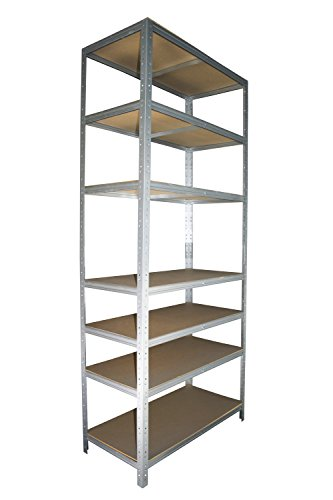 Schwerlastregal 200 x 60 x 30 cm mit 7 Böden Stecksystem aus Metall verzinkt: Metallregal geeignet als Kellerregal, Lagerregal, Archivregal, Ordnerregal, Werkstattregal - Keller-storage-shelf