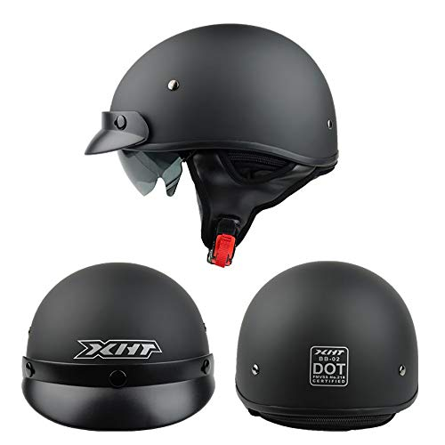 GuoYq Offener Motorradhalbhelm, Four Seasons Prince Helm, Retro-Halbhelm für Cruiser Chopper, mit Landeschirm, ECE-zertifiziertes DOT-Zertifikat.