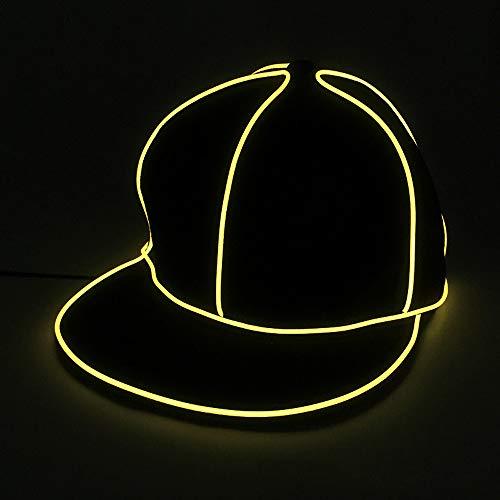 Hut, Kostüm Neon Hip Hop Baseball Cap EL Cap Cold Light Festival Party Dance Für Hochzeitsdekoration Street Dancer Party,Yellow ()
