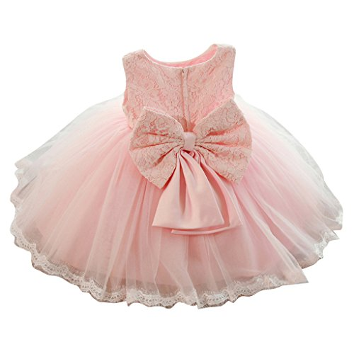 Vestido de fiesta del bebé de las niñas de los cabritos Vestido floral de la princesa Bowknot de la dama de honor de la boda del cordón rosado / 90cm / 1-2years