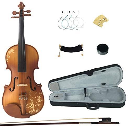 Kinglos 4/4 Blume Geschnitzten Ebenholz Beschläge Massivholz Violine Geige mit Harten Fall, Schulterstütze, Bogen, Kolophonium, Brücke und Saiten (DH003)