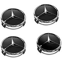 Copricerchione per Mercedes Benz, 4 pezzi, diametro: 75 mm, colore: nero, pezzo di ricambio, coprimozzo, copricerchi, coprimozzo, copricerchi, wheel caps, colore: nero, 66470200