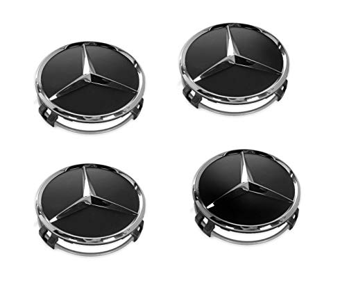 Felgendeckel Mercedes Benz 4 Stück 75mm Schwarz Ersatzteil Nabendeckel Radnabenkappen für Mercedes-Benz Felgenkappen Nabenkappen Wheel Caps Radnabenabdeckung Black 66470200