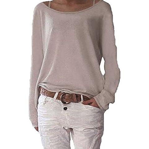 Lantch Donna Moda T-shirt Camicetta Maglietta Manica Lunga Casuale dal manicotto di caduta