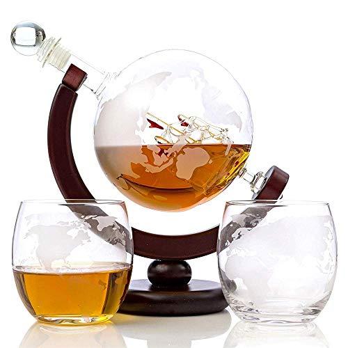 Mr. Fragile Whisky-Dekanter-Set 1000 ML,Mit 2 Geätzten Whisky-Gläsern (300 Ml),Holzsockel Und Safe-Paket Für Alkohol, Scotch, Bourbon, Wodka Und Wein - Fragile Glas