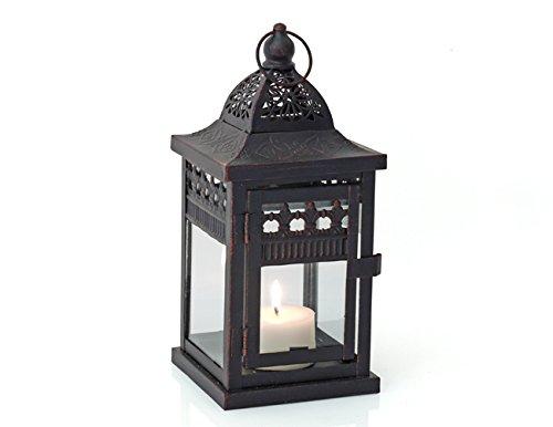 Laterne LUCCA braun Jugendstil 24cm Windlicht Metall Teelicht Beleuchtung Dekoration Kerze NEU