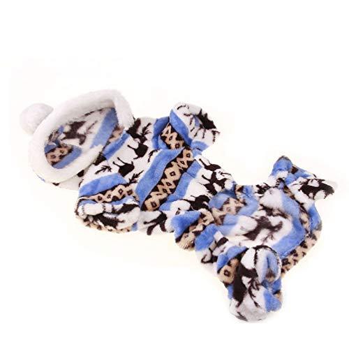 Oyamihin Niedlichen Cartoon Pet Rentier Welpen Mantel Kleidung weiche Korallen Samt Fleece Winter warme Pullover Overall Outfit Bekleidung - blau M