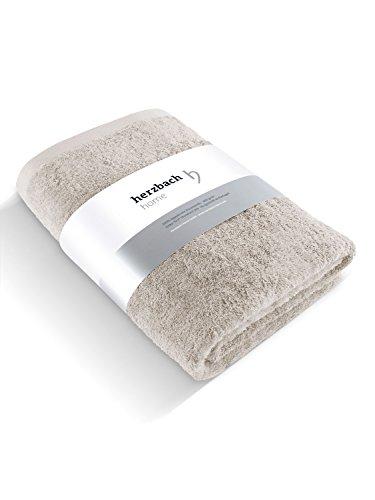 herzbach home Luxus Saunatuch Handtuch Premium Qualität aus 100{39559b6e0d46cecba701285c9638b9d07119a5428b8cee1ded77fc9b7ec40d06} ägyptischer Baumwolle 86 x 200 cm 600 g/m² (Sandgrau)